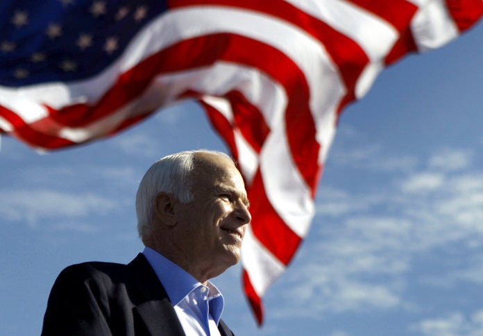 In this Nov. 3, 2008, file photo, Republican presidential candidate Sen. John McCain speaks at a rally in Tampa, Fla. (AP Photo/Carolyn Kaster)