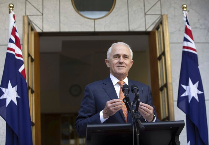 Outgoing Australian Prime Minister Malcolm Turnbull speaks during a final press conference before leaving Parliament in Canberra, Friday, Aug. 24. (AP Photo/Andrew Taylor)