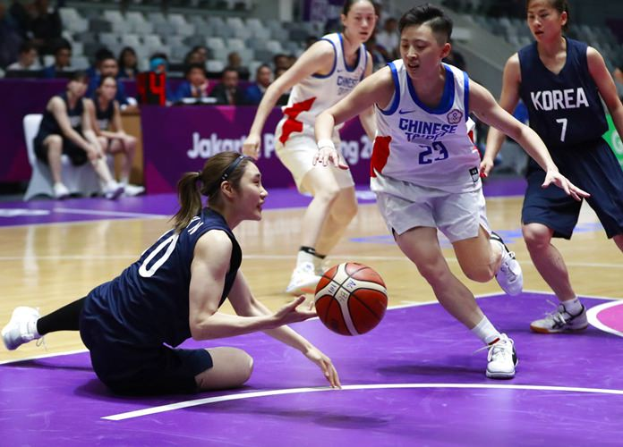 Combined Koreas' Park Hana,left, battles for the ball against Taiwan's Peng Szucin during their women's basketball semifinal match at the 18th Asian Games at Istora Stadium in Jakarta, Indonesia, Thursday, Aug. 30, 2018. (AP Photo/Dita Alangkara)