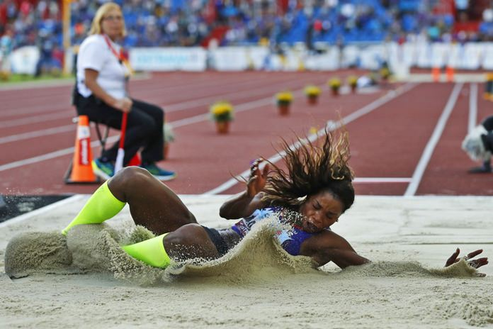 Caterine Ibarguen of Colombia competes to win the women's triple jump for the Americas at the IAAF track and field Continental Cup in Ostrava, Czech Republic, Sunday, Sept. 9, 2018. (AP Photo/Petr David Josek)
