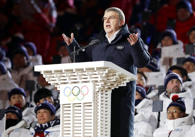 In this Friday, Feb. 9, 2018 file photo, IOC president Thomas Bach speaks during the opening ceremony of the 2018 Winter Olympics in Pyeongchang, South Korea. (AP Photo/Vadim Ghirda,File)