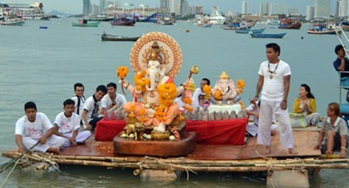 At a recent event, worshippers prepare to immerse Ganesh images made of Plaster of Paris into the sea, symbolizing a ritual send-off of the Lord in his journey towards his abode in Kailash while taking away with him the misfortunes of his devotees.