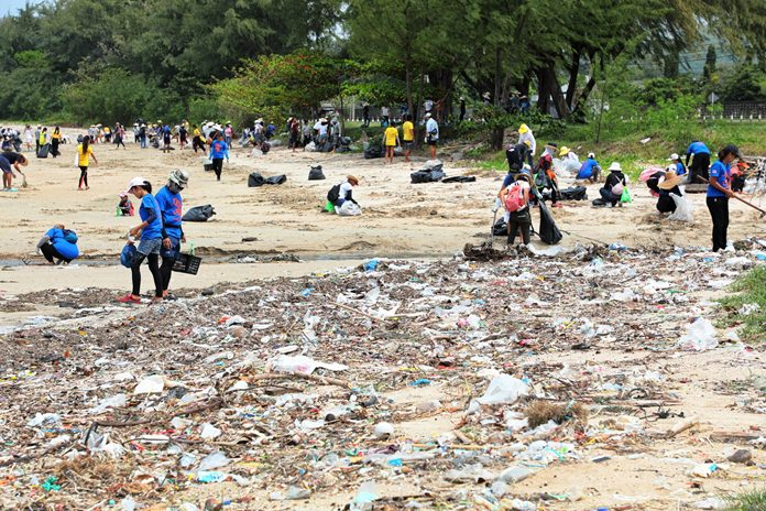 About 150 volunteers, athletes, sailors and residents have their work cut out trying to clean up this stretch of beach at the end of Tub Canal in Sattahip.