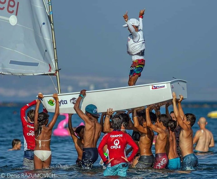 Thai Optimist Sailor Bovoranan Chanrum races towards the finish line. Members of the Thailand Optimist team won 4 top trophies in the 2018 World Optimist Championship held in Cyprus at the beginning of September.