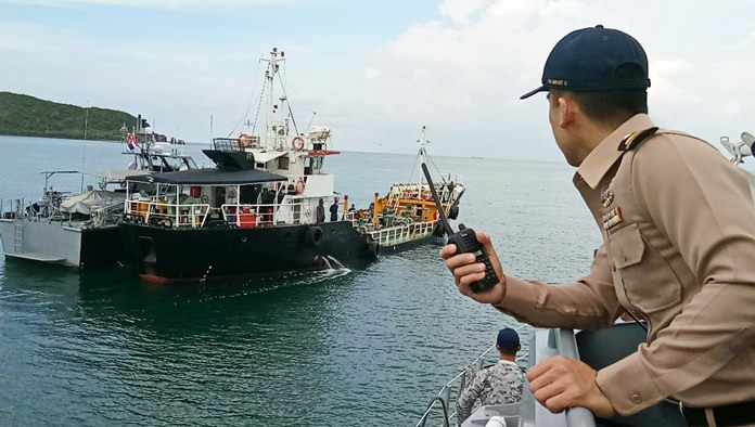 Last week the navy seized a tanker loading 240,000 liters of illegal gasoline in the Gulf of Thailand