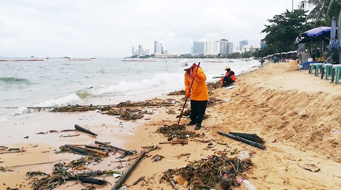 About 100 Pattaya workers collected more than 20 tons of garbage and natural debris after a Sept. 14 storm.