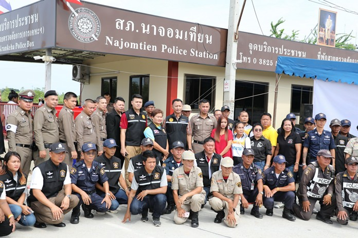 The Najomtien Police Station officially opened a new police box in the Baan Eua-Arthorn Community to tackle petty crime and drug sales.