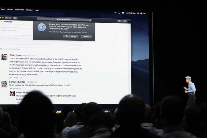 """Craig Federighi, Apple's senior vice president of Software Engineering, speaks during an announcement of new products at the Apple Worldwide Developers Conference in San Jose, Calif. New protections in Apple's Safari and Mozilla's Firefox browsers aim to prevent companies from turning """"cookie"""" data files used to store sign-in details and preferences into broader trackers that take note of what you read, watch and research on other sites. (AP Photo/Marcio Jose Sanchez)"""
