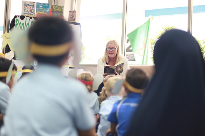 GIS Principal Mrs Hawtree led a Roald Dahl storytelling session in the school library.