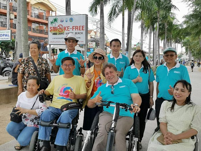 Television host and disabled-access advocate Kritsana Lalai checked on the progress of making Pattaya's tourist attractions friendlier to wheelchair users.