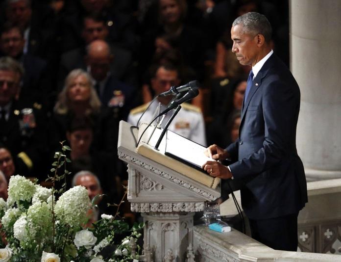 Former President Barack Obama pauses as he speaks at a memorial service for Sen. John McCain, R-Ariz., at Washington National Cathedral in Washington, Saturday, Sept. 1, 2018. (AP Photo/Pablo Martinez Monsivais)