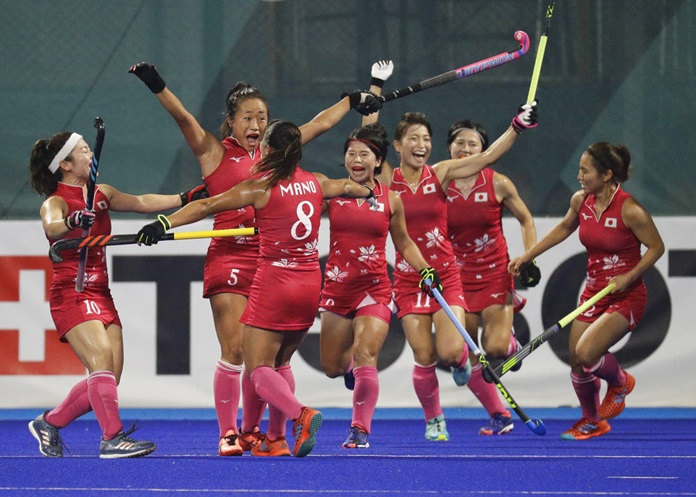 Japan's team celebrate after scoring a goal during their women's hockey match for gold against India at the 18th Asian Games in Jakarta, Indonesia, Friday, Aug. 31, 2018. (AP Photo/Aaron Favila)