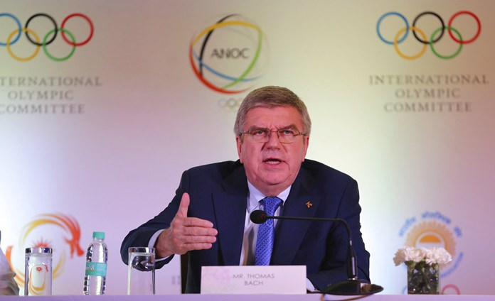 In this Thursday April 19, 2018 file photo, International Olympic Committee (IOC) President Thomas Bach addresses a press conference in New Delhi, India. Bach said in Jakarta, Saturday, Sept. 1, 2018, that he isn't certain if, or when, esports might be incorporated into the Olympic Games. (AP Photo/Altaf Qadri,File)