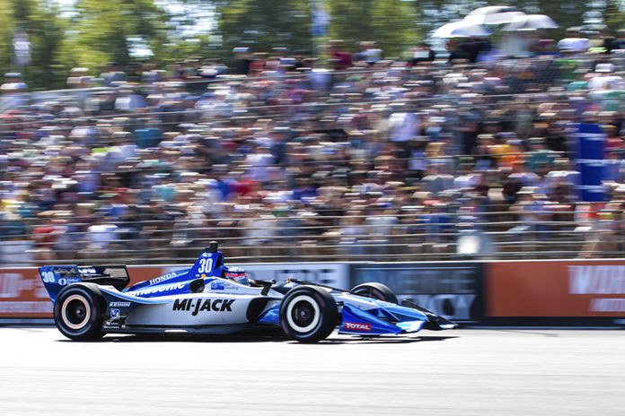 Takuma Sato drives during the IndyCar auto race Sunday, Sept. 2, 2018, in Portland, Ore. Sato won the race. (Ben Ludeman/The Oregonian via AP)