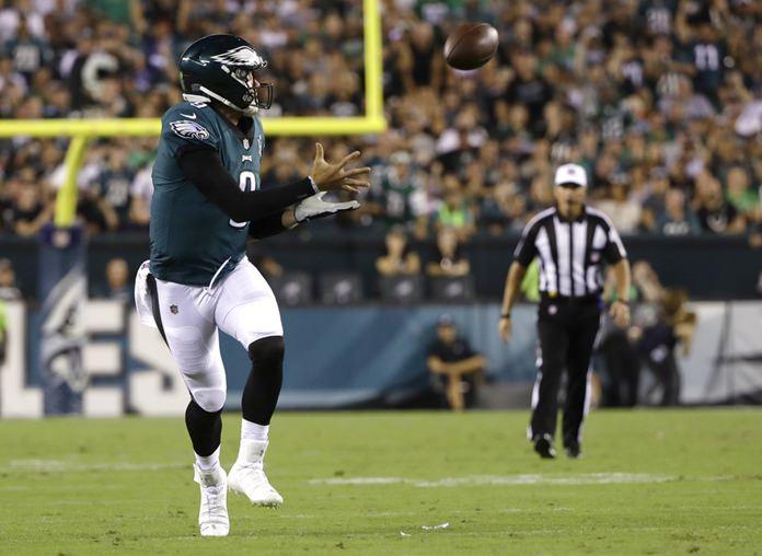 Philadelphia Eagles quarterback Nick Foles catches a pass during the second half of the team's NFL football game against the Atlanta Falcons, Thursday, Sept. 6, 2018, in Philadelphia. (AP Photo/Matt Rourke)