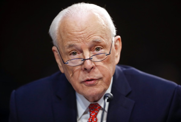 In this Sept. 7, 2018, photo, John Dean, former Counsel to the President President Richard Nixon, speaks to the Senate Judiciary Committee during the final stage of the confirmation hearing for President Donald Trump's Supreme Court nominee, Brett Kavanaugh, on Capitol Hill in Washington. (AP Photo/Pablo Martinez Monsivais)