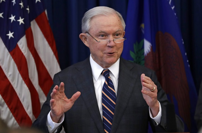 In this Aug. 22, 2018, file photo, Attorney General Jeff Sessions speaks during a news conference regarding the country's opioid epidemic in Cleveland. Sessions has pushed President Donald Trump's agenda at the Justice Department and spent 20 years before that as a champion of conservative causes in the Senate. (AP Photo/Tony Dejak, File)