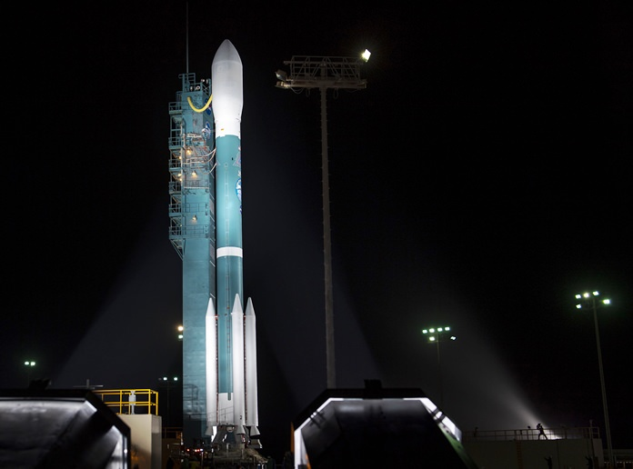 The United Launch Alliance (ULA) Delta II rocket with the NASA Ice, Cloud and land Elevation Satellite-2 (ICESat-2) onboard is seen shortly after the mobile service tower at SLC-2 was rolled back, Saturday, Sept. 15, 2018, at Vandenberg Air Force Base, Calif. The ICESat-2 mission will measure the changing height of Earth's ice. (Bill Ingalls/NASA via AP)