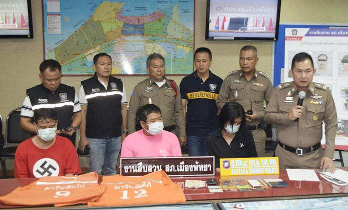 Noppadol Moonkam, Boonleang Chaichid, and Anurak Thongsuk were charged with stealing a bag dropped on Walking Street.