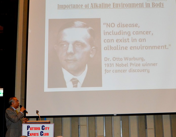 """C.V. Gaiki presents this slide showing Dr Otto Warberg, a Nobel recipient quoted as saying, """"No serious disease including cancer can exist in an alkaline environment."""" He went on to say that a cell that has not been starved of oxygen and has a perfect ph balance cannot become infected with cancer."""