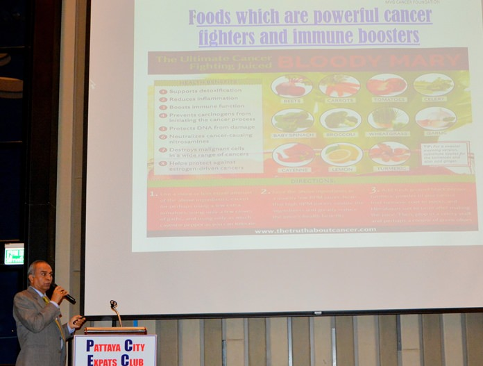 In another slide, C.V. Gaiki identifies foods which are powerful cancer fighters and immune boosters.