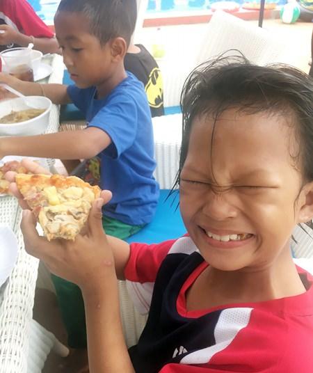 The pizza was delicious.
