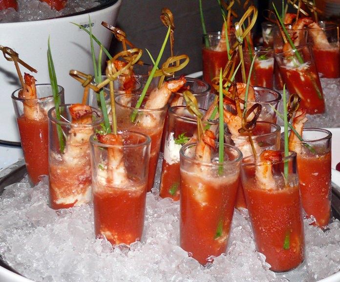 Cool gazpacho and hot prawns.