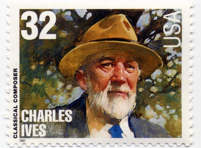 A portrait of Charles Ives on a 1997 postage stamp.