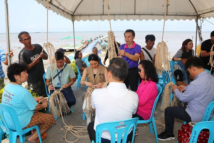 The TCEB officials visited Naklua's Sung Cheuk, a fishing habitat where marine animals are being protected to restock the local waters.
