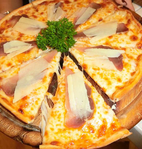 Thin and crispy pizza.