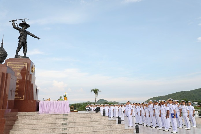 Adm. Noppadol Supakorn, commander of the Royal Thai Fleet, officially kicked off the 250th anniversary commemoration of King Taksin the Great's amphibious assault on the Burmese in Ayutthaya.