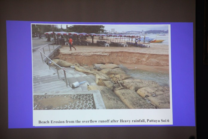 Having demolished 12 sections of sidewalk along Pattaya Beach to relieve Beach Road flooding, Pattaya officials are now looking to mitigate the damage to the sand-restoration project those openings have caused.