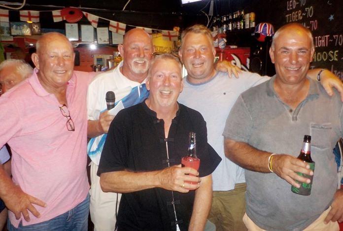 Overall winner Jason Barnett (second right) celebrates with Billabong golfers in Kanchanaburi.