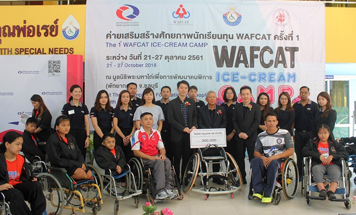 The Wheelchairs And Friendship Center of Asia donated more than 300,000 baht in scholarships and equipment to the Redemptorist School for Persons with Disabilities.