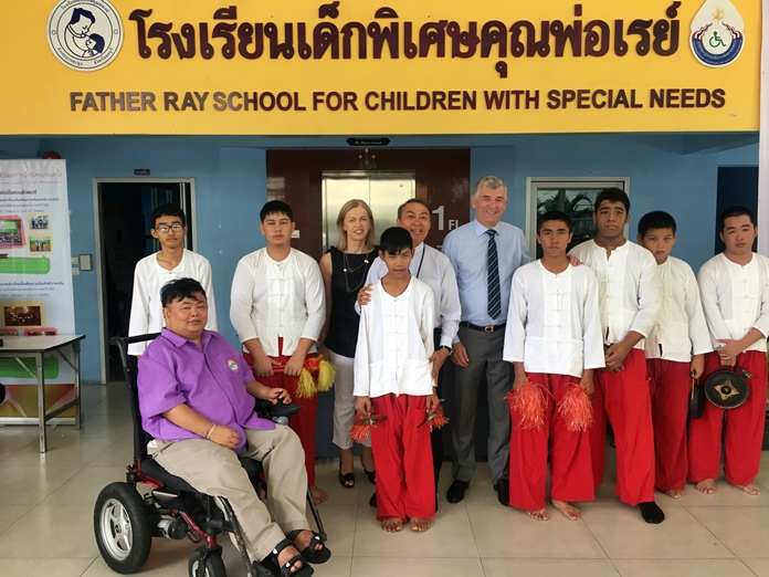 The Ambassador and his wife meet the students with special needs.
