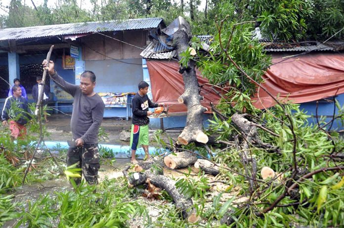 Workers clear a road covered with toppled trees after Typhoon Yutu slammed into Isabela province in northeastern Philippines Tuesday, Oct. 30. (AP Photo)