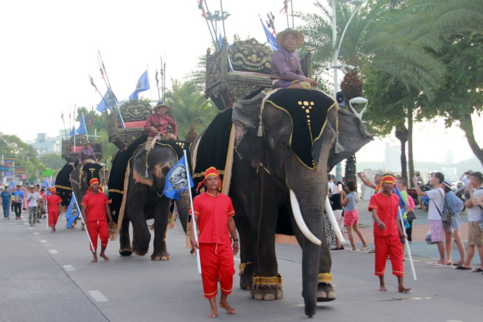 Battle ready elephants look ominous to anyone who would oppose them.