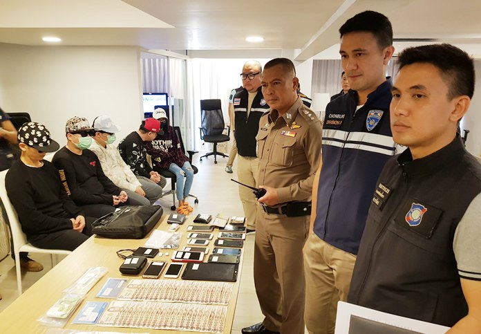 Four South Koreans and a Thai landlord were arrested when police raided an online-gambling operation run out of a luxury Pattaya condo.