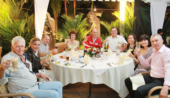 Friends celebrating together, (l-r) Peter Schlegel, Axel Brauer, Winfred Worath, Elfi Seitz, Phillipp, Werner Kubesch, Bo Songkram, Maleerat and Urs Brunner.