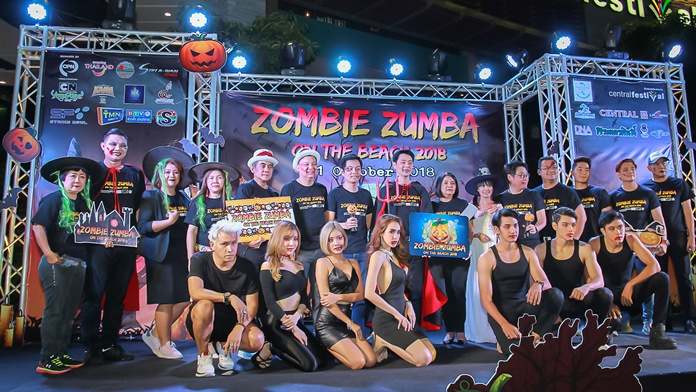 (Above) Pattaya Deputy Mayor Poramet Ngampichet poses on stage with the Zombie Zumba participants and local dignitaries.