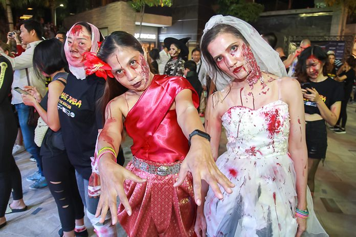Zombies invade the Zombie Zumba party in Pattaya.