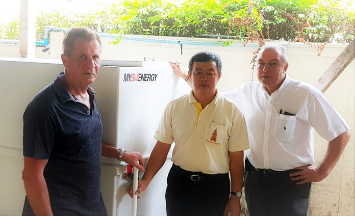 Delivering the Biogas installation at the Thai Garden Resort is Rudi Paflitschek, managing director of MYBIOENERGY, with the hotel's chief engineer Teerachon, and General Manager Rene Pisters.