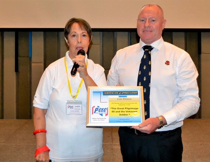 MC Judith Edmonds presents Colin Whitlock with the PCEC's Certificate of Appreciation for his interesting and informative talk about Royal British Legion's Great Pilgrimage 90 and why Remembrance Day is so important even to this day.