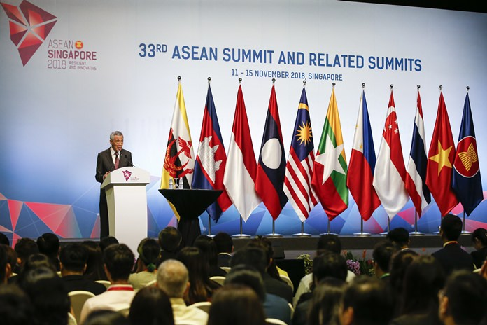 Singaporean Prime Minister Lee Hsien Loong speaks during a press conference following the 33rd ASEAN summit in Singapore, Thursday, Nov. 15, 2018. (AP Photo/Yong Teck Lim)