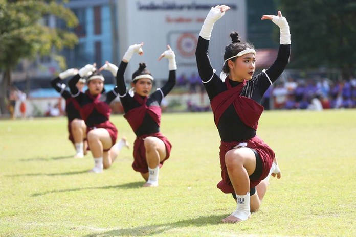 Students take part in the opening parade at Photisampan Pittayakarn School's 42nd sports day.
