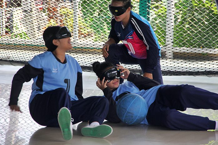 The girls in the blue team won the Goalball final.