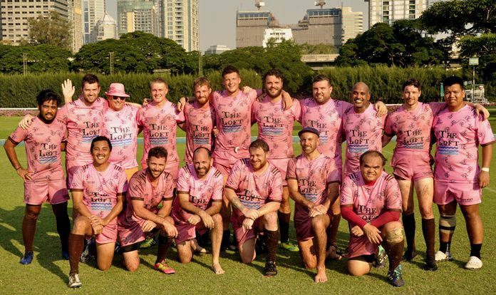 The Pattaya Panthers RFC team line up at the Royal Bangkok Sports Club during the RBSC International Rugby 10s tournament, Saturday, November 17.