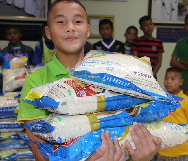 The children and students eat their way through 75,000kgs of rice each year.