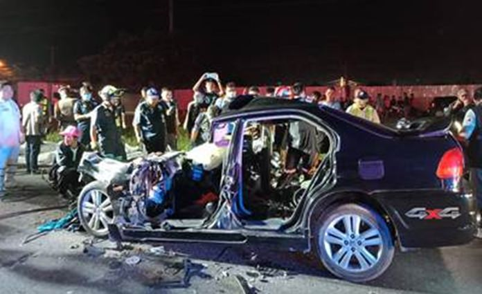 Four people died when their Honda compact barreled into the back of a 10-wheeled truck making a U-turn on the Sattahip border.