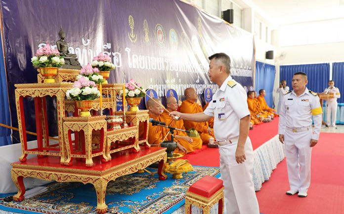 Vice Adm. Charlee Montrivade, deputy commander of the Royal Thai Fleet, led officers and sailors from six combat units in offering alms to 112 monks at Sattahip headquarters to mark the modern-day Royal Thai Navy's 112th anniversary.